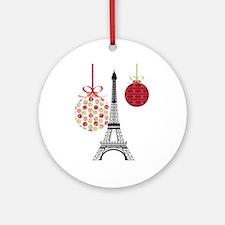 Merry Christmas Eiffel Tower Ornaments Ornament (R