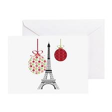 Merry Christmas Eiffel Tower Ornaments Greeting Ca