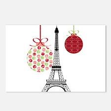 Merry Christmas Eiffel Tower Ornaments Postcards (