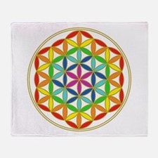 Flower of Life Chakra Throw Blanket