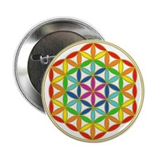 """Flower of Life Chakra 2.25"""" Button"""