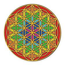 Flower of Life Chakra1 Round Car Magnet