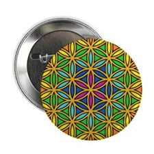 """Flower of Life Chakra1 2.25"""" Button"""