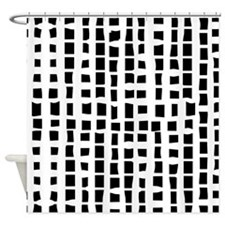 Modern White on black abstract bamboo Shower Curta