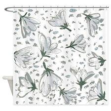 Black White Flowers Shower Curtain