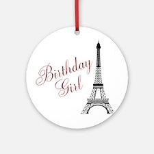 Birthday Girl Eiffel Tower Ornament (Round)