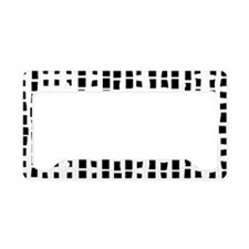 Modern White on black abstract bamboo License Plat