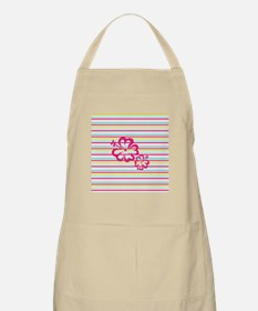 Pink Hibiscus on Multi-color Stripes Apron