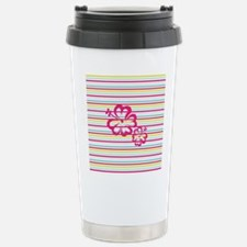 Pink Hibiscus on Multi-color Stripes Travel Mug