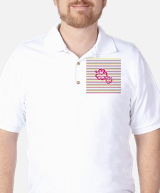 Pink Hibiscus on Multi-color Stripes Golf Shirt
