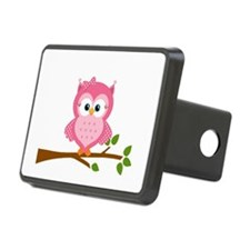 Pink Owl on a Branch Hitch Cover