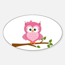 Pink Owl on a Branch Decal