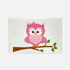 Pink Owl on a Branch Magnets
