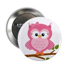 """Pink Owl on a Branch 2.25"""" Button"""