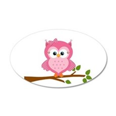 Pink Owl on a Branch Wall Decal