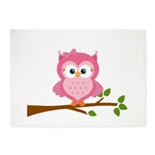 Pink Owl on a Branch 5'x7'Area Rug