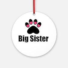 Big Sister Paw Print Ornament (Round)