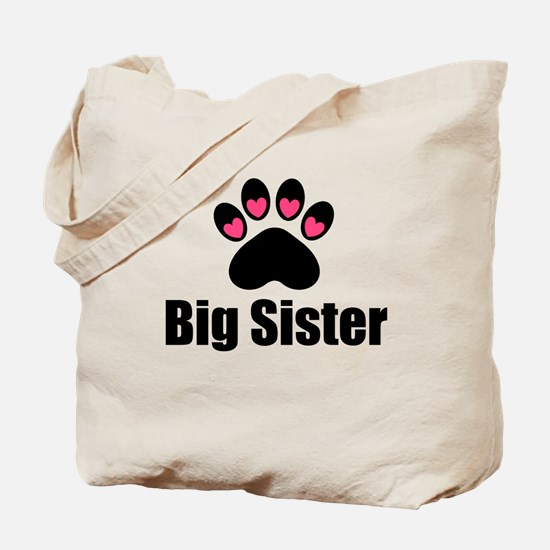 Big Sister Paw Print Tote Bag