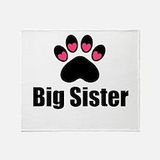 Big Sister Paw Print Throw Blanket