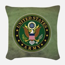 Army Seal Green Grunge Woven Throw Pillow