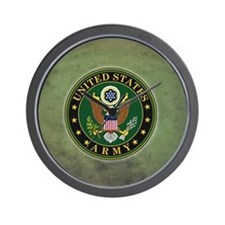 Army Seal Green Grunge Wall Clock