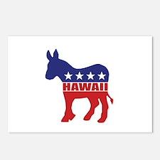 Hawaii Democrat Donkey Postcards (Package of 8)