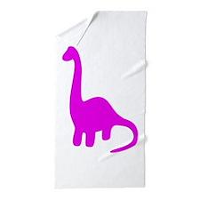 Pink Herbivore Dinosaur Beach Towel