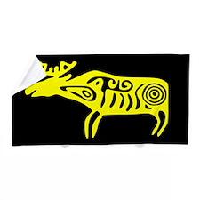 Yellow Tribal Moose Beach Towel