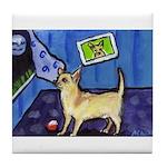 Chihuahua sees moon Tile Coaster