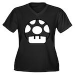 Shroom Women's Plus Size V-Neck Dark T-Shirt