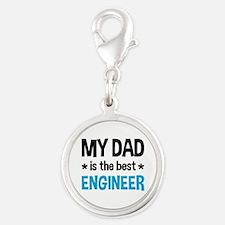 Best Engineer Dad Silver Round Charm