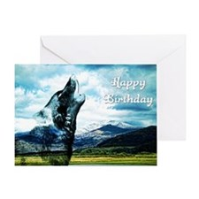 Ghost wolf howling at the moon birthday card Greet