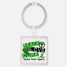Spinal Cord Injury PeaceLoveCure1 Square Keychain