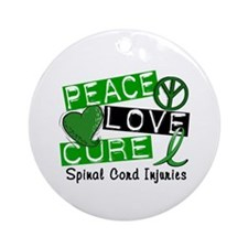 Spinal Cord Injury PeaceLoveCure1 Ornament (Round)