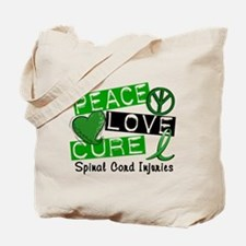 Spinal Cord Injury PeaceLoveCure1 Tote Bag