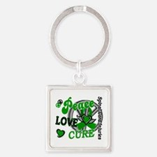 Spinal Cord Injury PeaceLoveCure2 Square Keychain