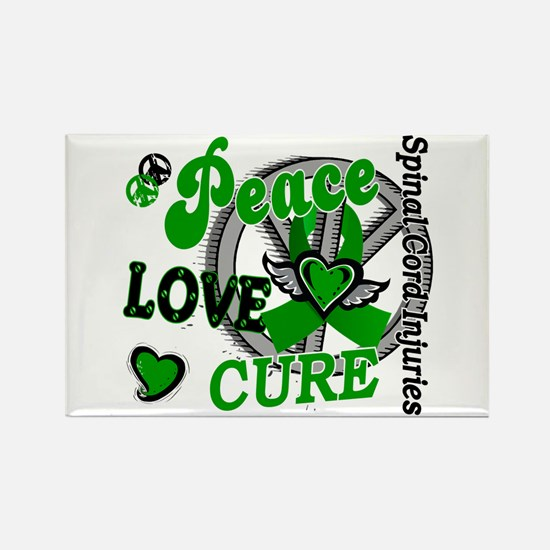 Spinal Cord Injury PeaceLoveCure2 Rectangle Magnet