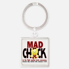 Brain Aneurysm Mad Chick 1 Square Keychain