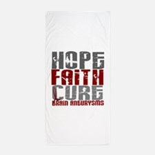 Brain Aneurysm HopeFaithCure1 Beach Towel