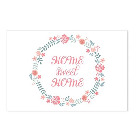 Home sweet home, floral laurel wreath Postcards (P
