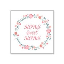 Home sweet home, floral laurel wreath Sticker