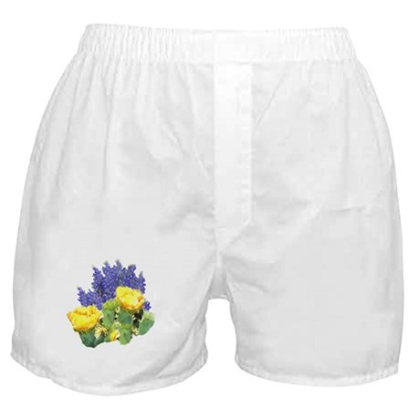 CACTUS FLOWERS AND BLUEBONNET Boxer Shorts