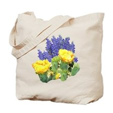 CACTUS FLOWERS AND BLUEBONNET Tote Bag