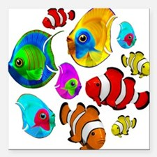 "Tropical Fishes Pattern Square Car Magnet 3"" x 3"""