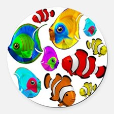 Tropical Fishes Pattern Round Car Magnet