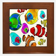Tropical Fishes Pattern Framed Tile