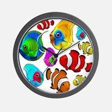 Tropical Fishes Pattern Wall Clock