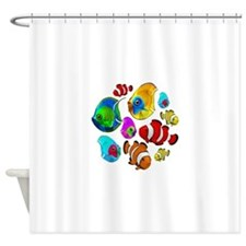 Tropical Fishes Pattern Shower Curtain