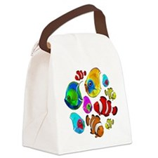 Tropical Fishes Pattern Canvas Lunch Bag