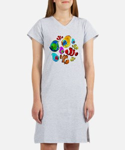 Tropical Fishes Pattern Women's Nightshirt